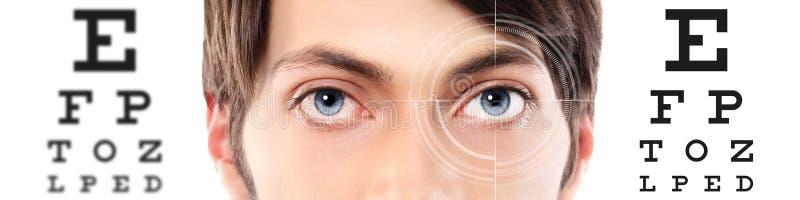 Les yeux se ferment au diagramme d'essai, à la vue et à l'examen visuels d'oeil photographie stock libre de droits