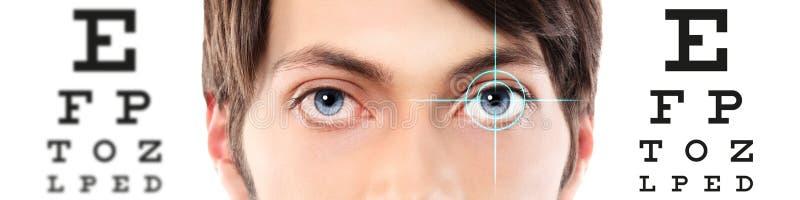 Les yeux se ferment au diagramme d'essai, à la vue et à l'examen visuels d'oeil images libres de droits