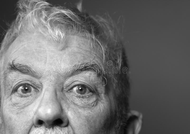 Les yeux tristes de vieil homme. Noir et blanc. images libres de droits