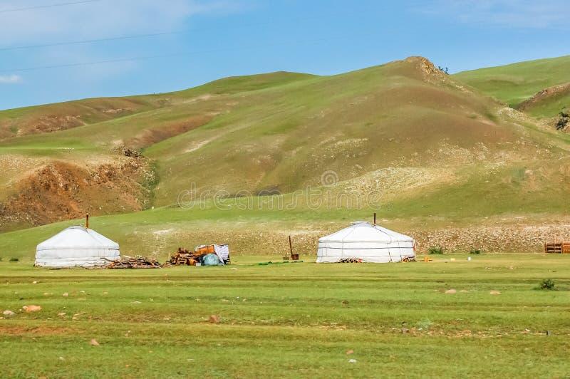Les yurts mongols ont appelé le Gers, Mongolie du nord photo libre de droits