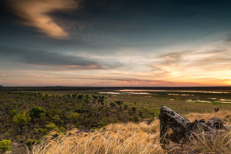 Les zones inondables de Nadab du haut de la roche d'Ubirr l'australie image libre de droits
