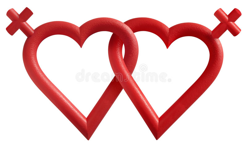 Lesbian Couple. Represented by two interlocking hearts and female symbols stock images