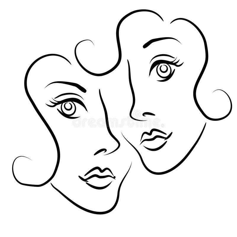 Lesbian Couple Clip Art 2. An abstract clip art illustration of a lesbian couple almost in an embrace in black outlines to represent love, dating, and related royalty free illustration