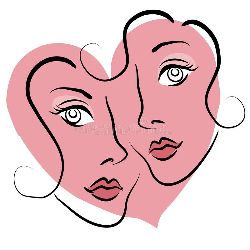 Lesbian Couple Dating Clip Art stock photography