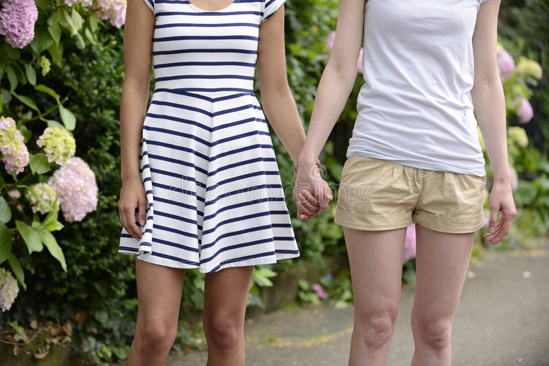 Lesbian couple holding hands stock photography