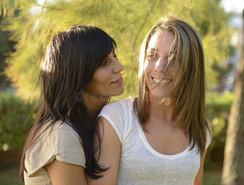 Lesbian Couple Hugging Stock Images