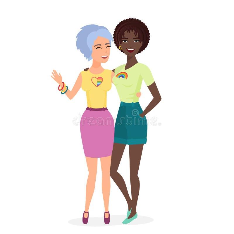 Lesbian couple in love. Cartoon style beautiful pretty lesbian woman. Cute girls couple. vector illustration