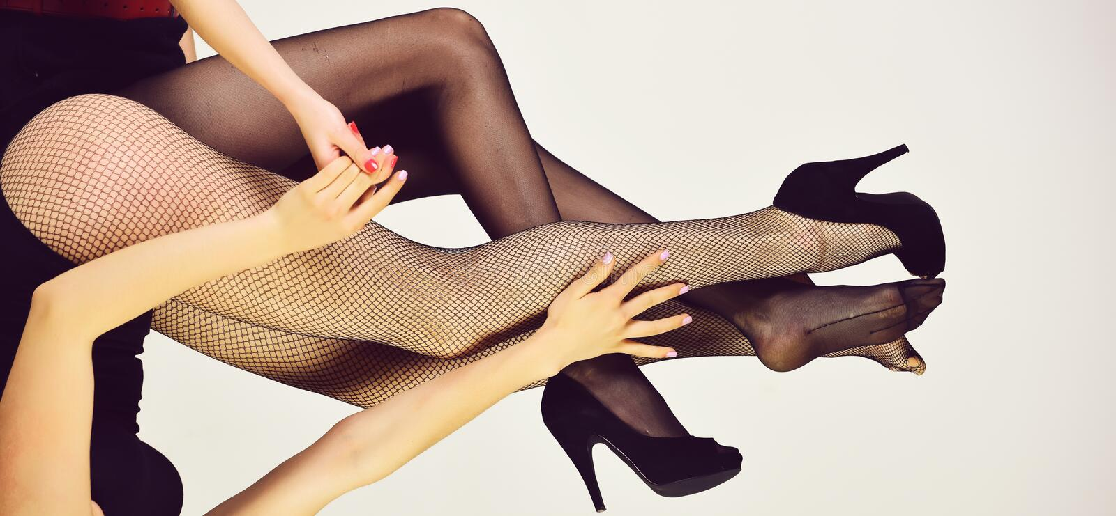 Lesbian couple in love. legs of women in fashionable tights and shoes royalty free stock photo