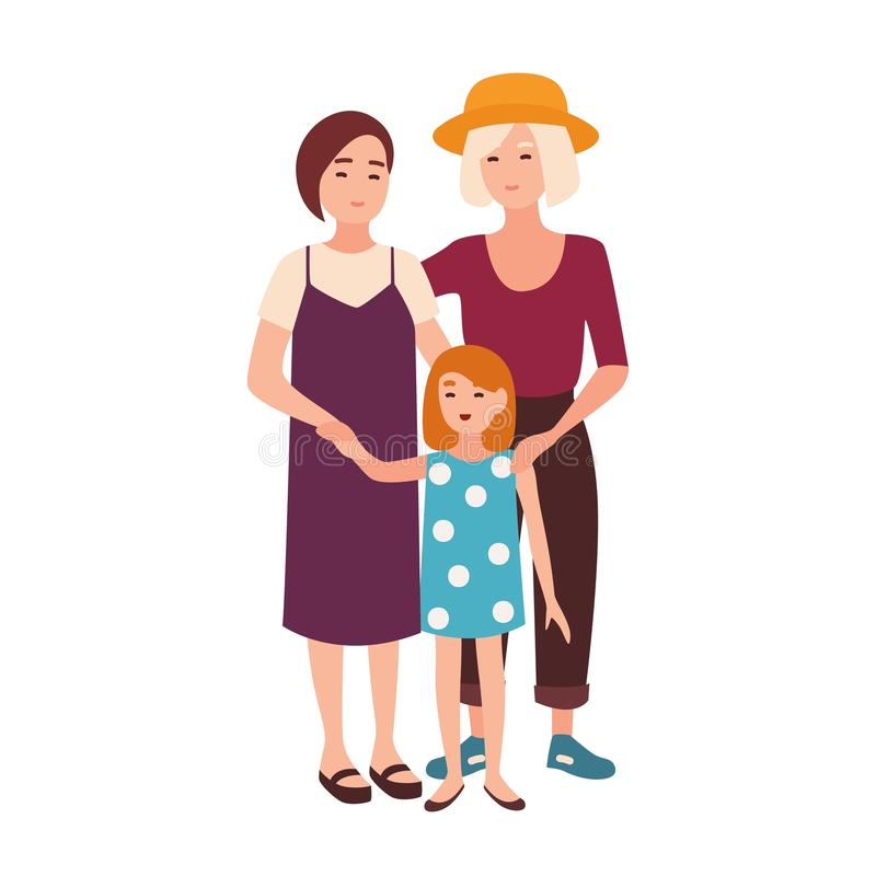 Lesbian couple standing with daughter. Pair of happy young women and their kid. Modern homosexual family. Flat female stock illustration