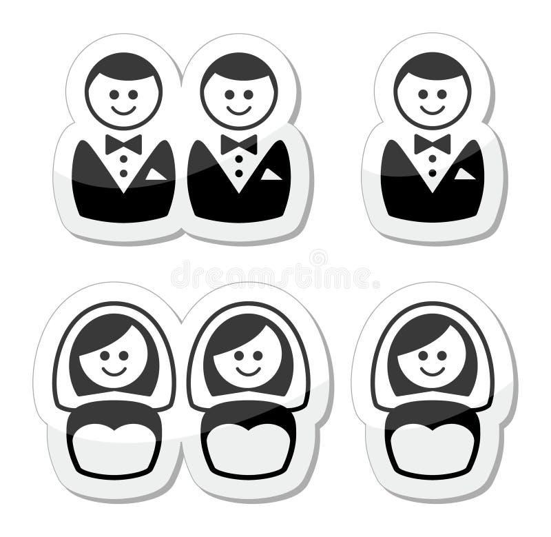Gay / lesbian marriage icons set. Lesbian, gay, glbt community wedding labels set on white royalty free illustration