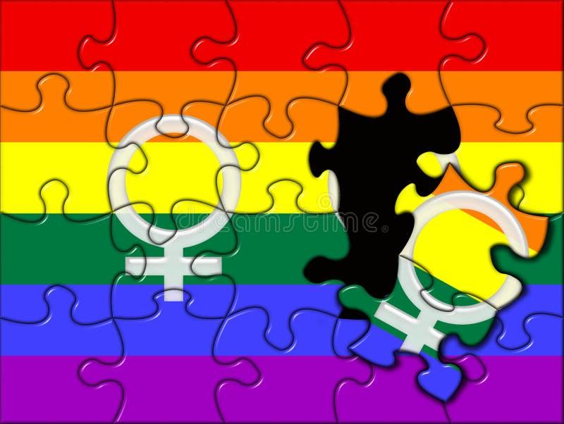 lesbian homoseksualna łamigłówka royalty ilustracja