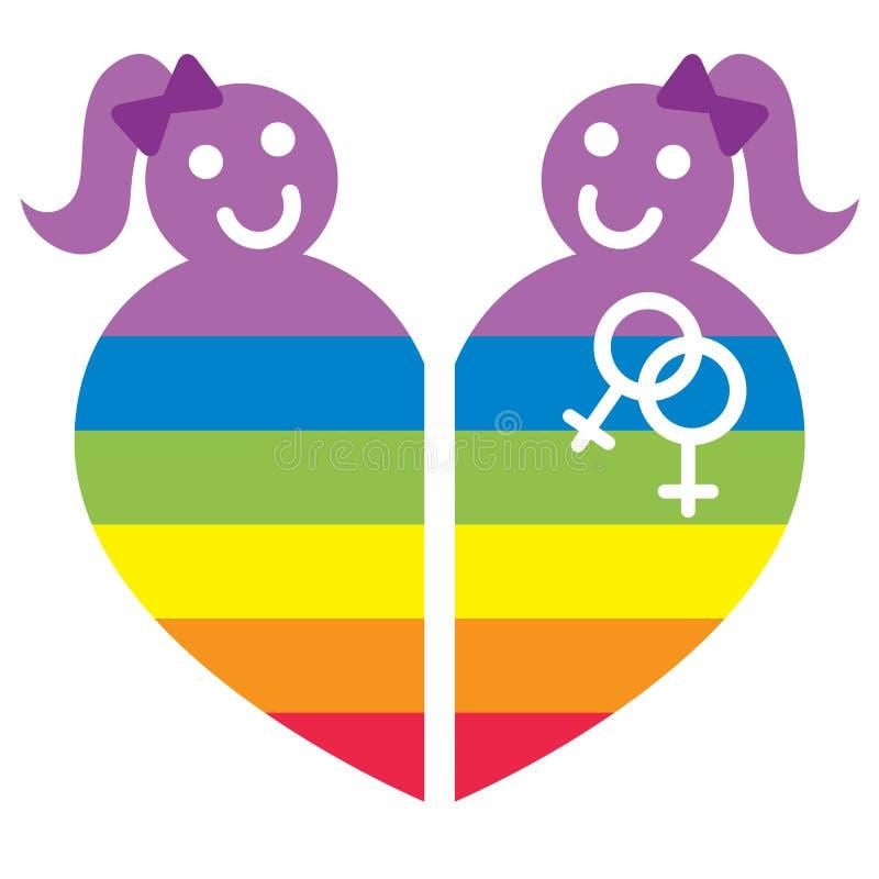 Lesbian symbol. Illustration of lesbian symbol in rainbow heart form isolated over white background stock illustration