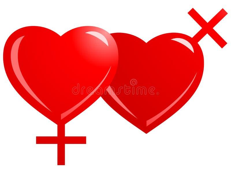 Lesbian Symbol - Heart vector illustration