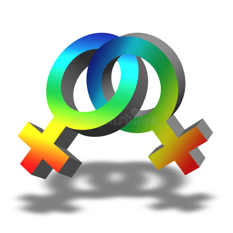 Lesbian Symbol. Illustration of a lesbian symbol with rainbow colors on white background royalty free illustration