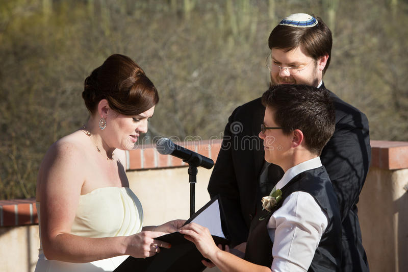 Lesbian Couple Marriage Ceremony royalty free stock image