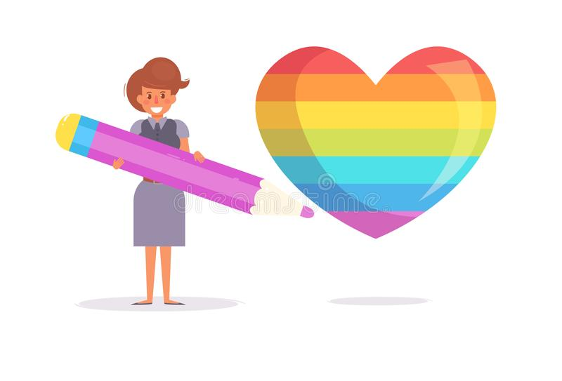 lesbiana Corazón Bandera LGBTQ stock de ilustración