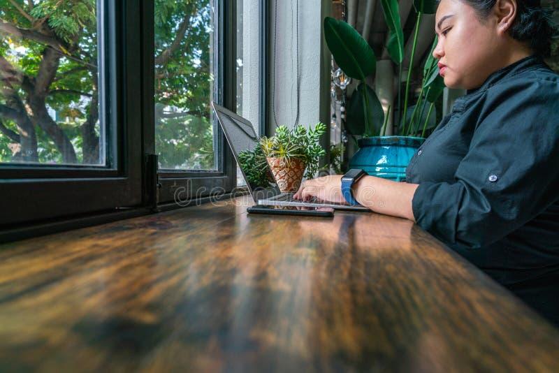 Lesbica asiatica che lavora al computer portatile nel luogo di lavoro verde fotografia stock