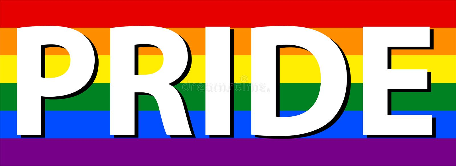 Lesbica di LGBT, gay, bisessuale & transessuale Pride Text In Rainbow Flag royalty illustrazione gratis
