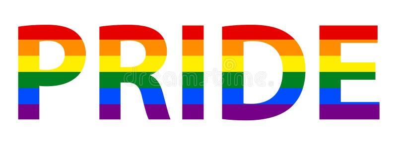 Lesbica di LGBT, gay, bisessuale & transessuale Pride Text In Rainbow Flag illustrazione vettoriale