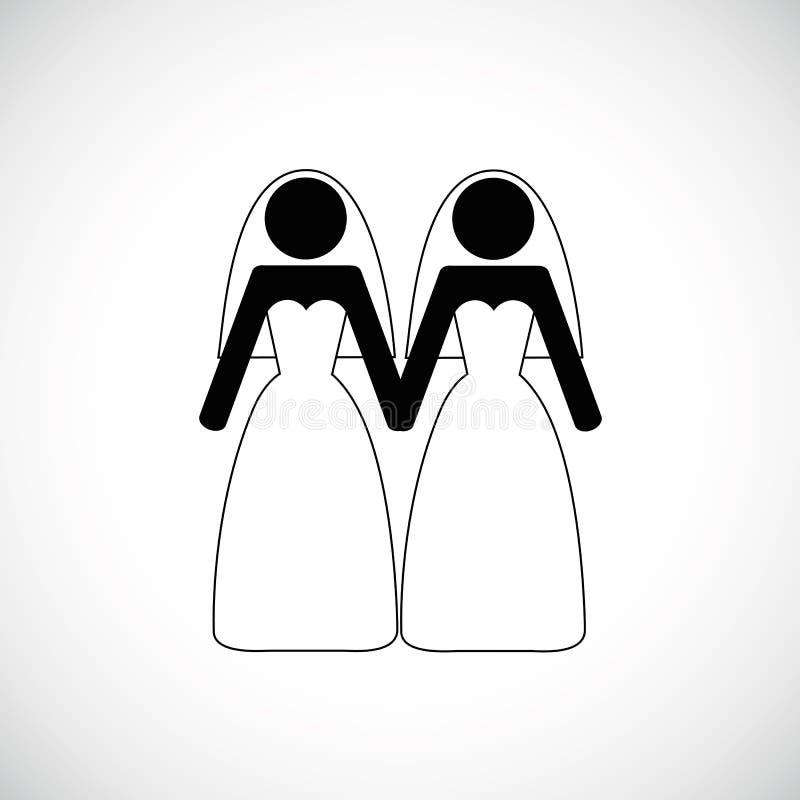 Lesbijski małżeństwo przylepia etykietkę piktogram ilustracji