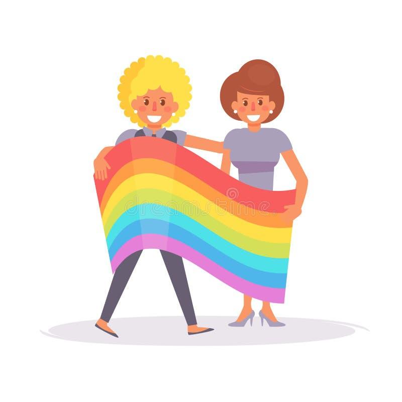 Lesbisch paar met een rainbo royalty-vrije illustratie
