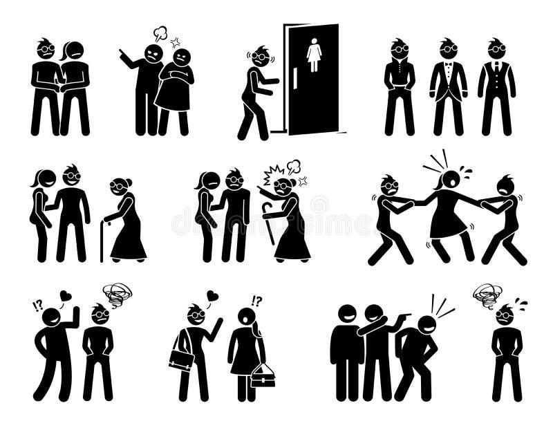 Lesbische vrouwen sociale moeilijkheid en het levensstrijd stock illustratie