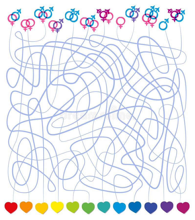 Lesbisk kvinna Hetero för symboler för förälskelselabyrint LGBT glad vektor illustrationer