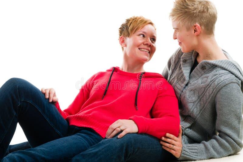 Lesbiska par arkivfoto