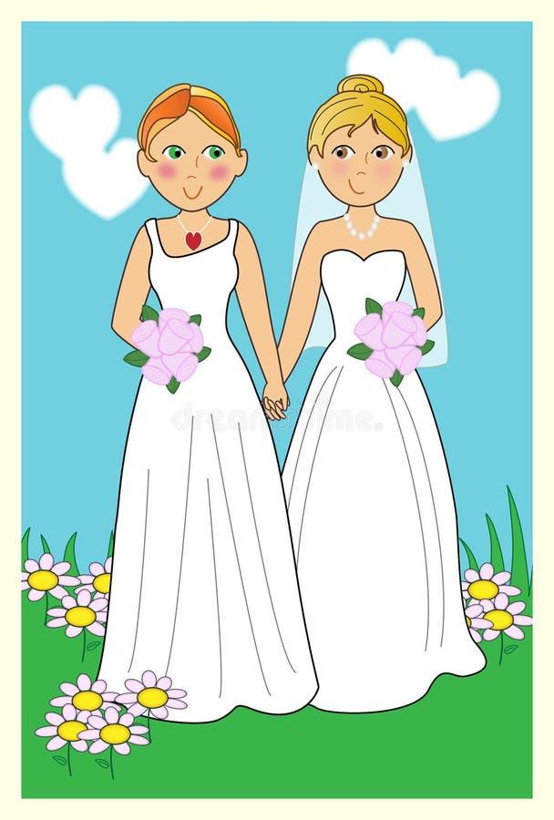 lesbiskt bröllop royaltyfri illustrationer