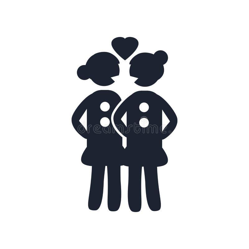 Lesbiskt tecken och symbol för parsymbolsvektor som isoleras på vit bac stock illustrationer