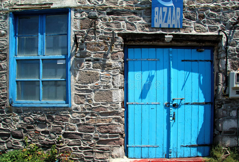Lesbos, Greece, an old blue door and blue window stock images