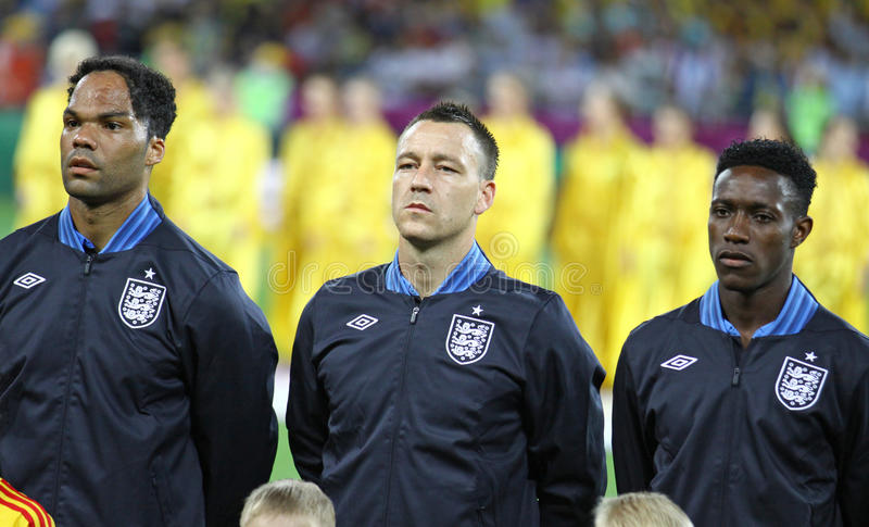Lescott, Terry und Welbeck von England stockbild