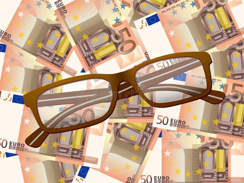 Lesebrille auf Hintergrund des Euros fünfzig stock abbildung