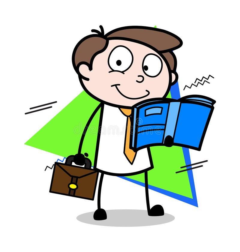Lesebuch beim Reisen - Büro-Geschäftsmann-Employee Cartoon Vector-Illustration stock abbildung