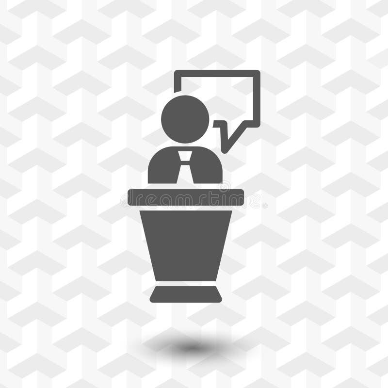 Lesepult mit flachem Design der Mikrofonikonenvorratvektor-Illustration stockbild