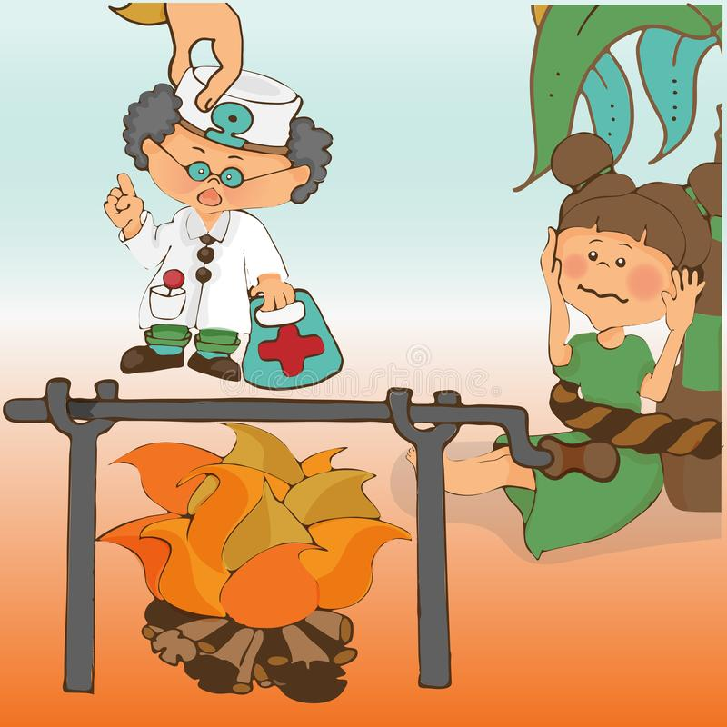 Leser für Kindergarten, Bilder basiert auf den Märchen über Barmalee vektor abbildung
