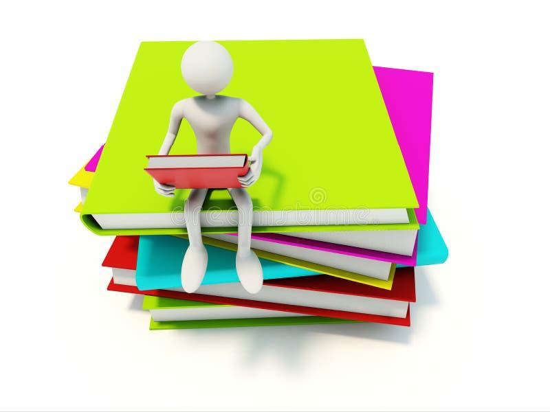 Leser mit Büchern stock abbildung
