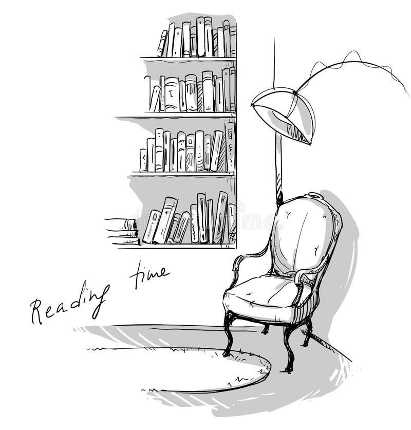 """Bücherregal gezeichnet  Lesezeit Ein Ruhiges Gemütliches Ecke Zu Hause †""""Bücherregale ..."""