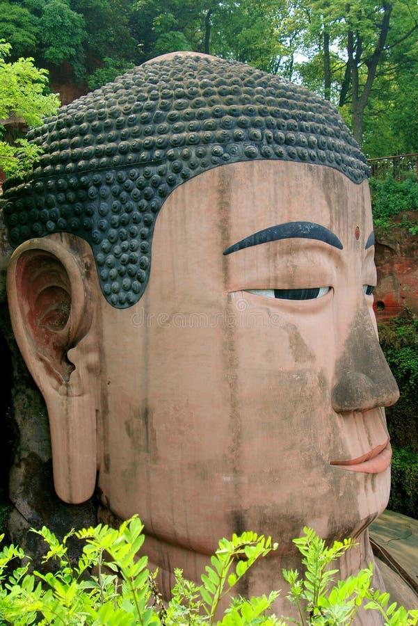 Leshan, China: Het reuze Gezicht van Boedha royalty-vrije stock foto's