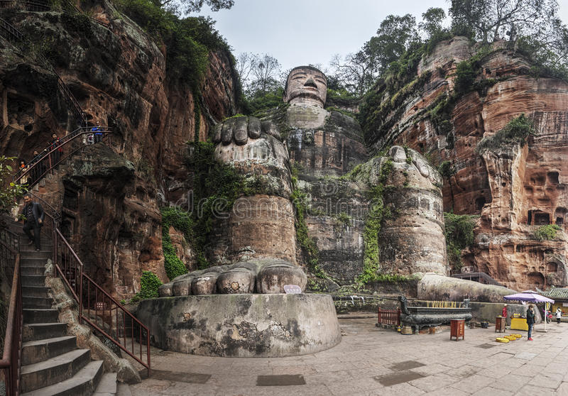 The Leshan Giant Buddha at Chengdu, China stock photo