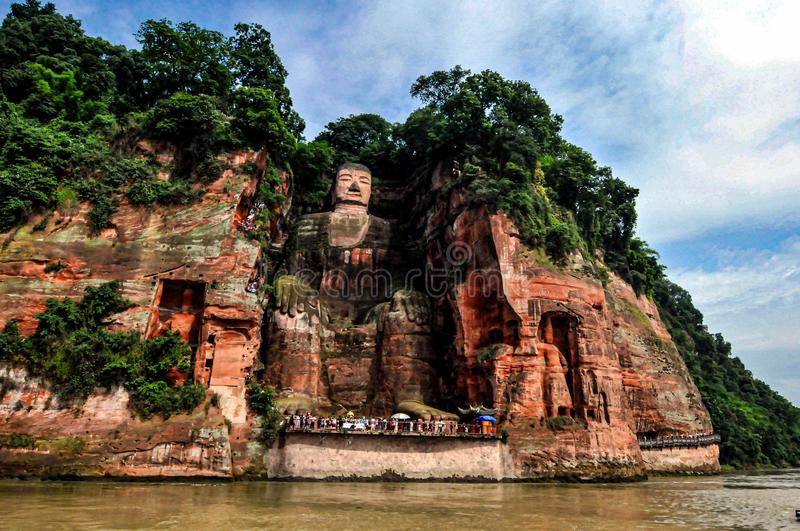 Leshan Giant Buddha is a mountain. In the Tang Dynasty of China, floods occurred frequently at the junction of the Minjiang River, the Qingyi River and the Dadu stock images