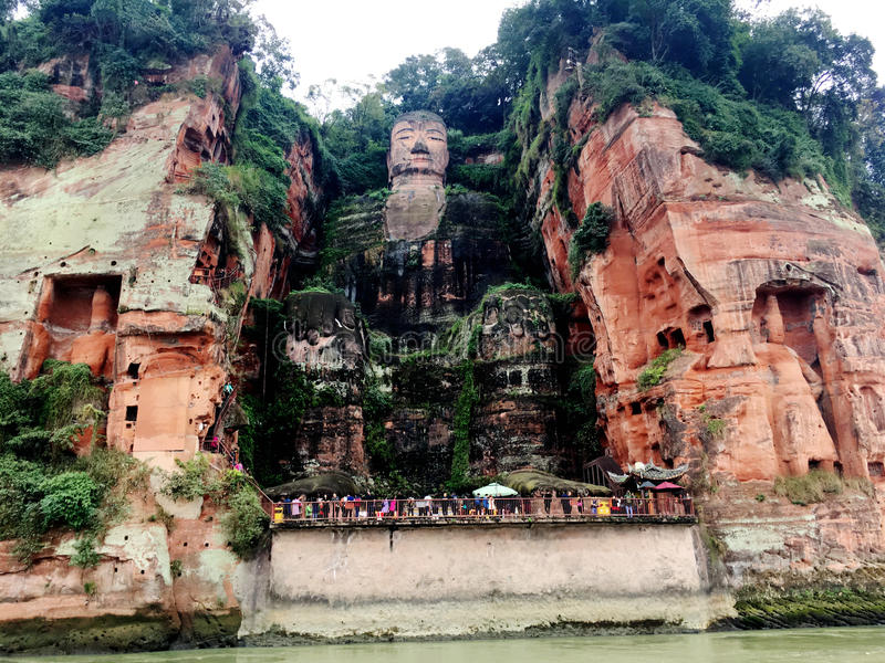 The Leshan Giant Buddha stone carve in Sichuan province in China stock image