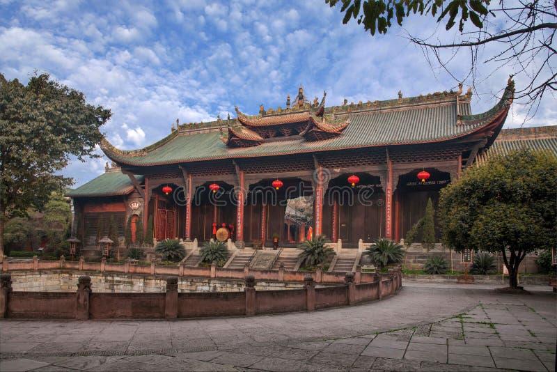 Leshan stad, Sichuan Qianwei Qianwei tempelDacheng port royaltyfria foton