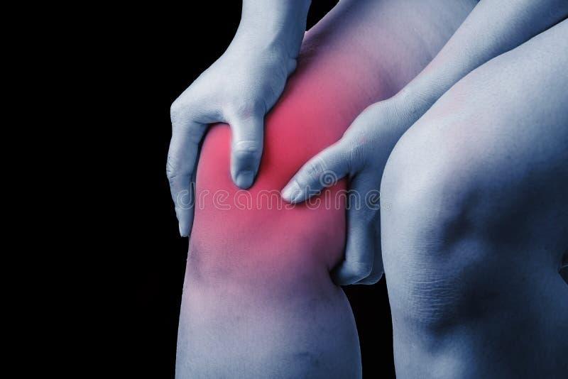 Lesión de rodilla en seres humanos dolor de la rodilla, gente médica, lunes de los dolores comunes fotos de archivo