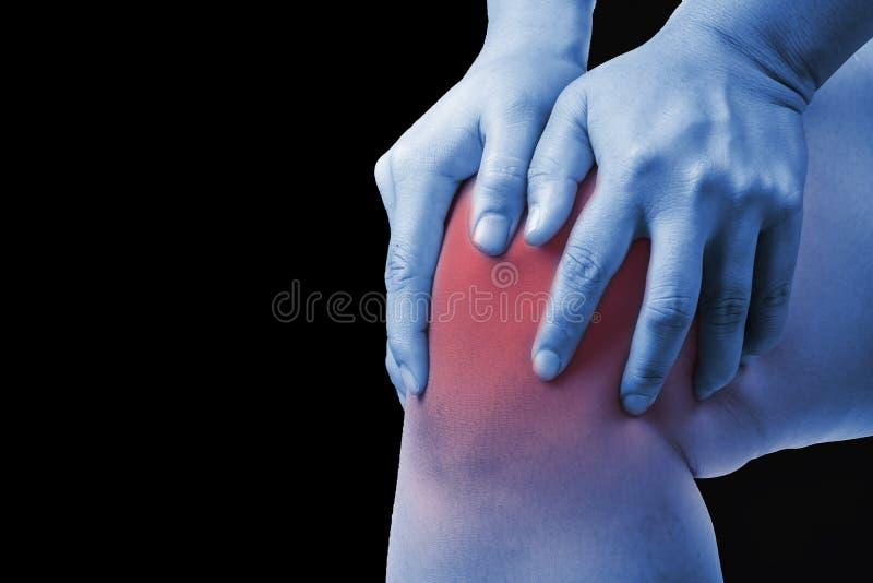 Lesión de rodilla en seres humanos dolor de la rodilla, gente médica, lunes de los dolores comunes foto de archivo libre de regalías