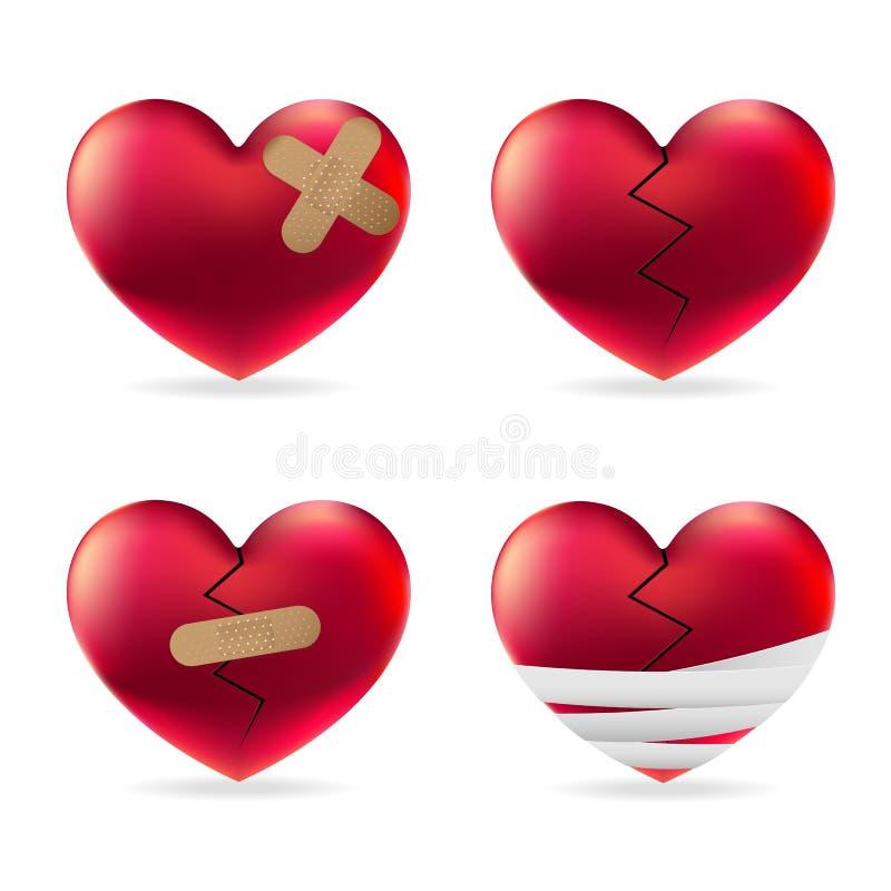 Lesión del corazón con yesos y el sistema médicos elásticos adhesivos del vector del vendaje stock de ilustración