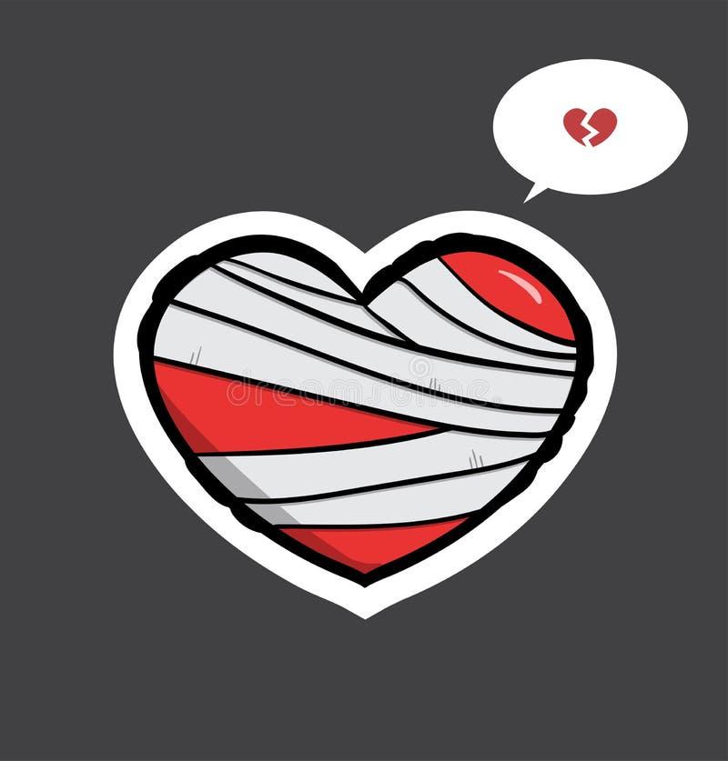 Lesione del cuore con la fasciatura fotografie stock libere da diritti
