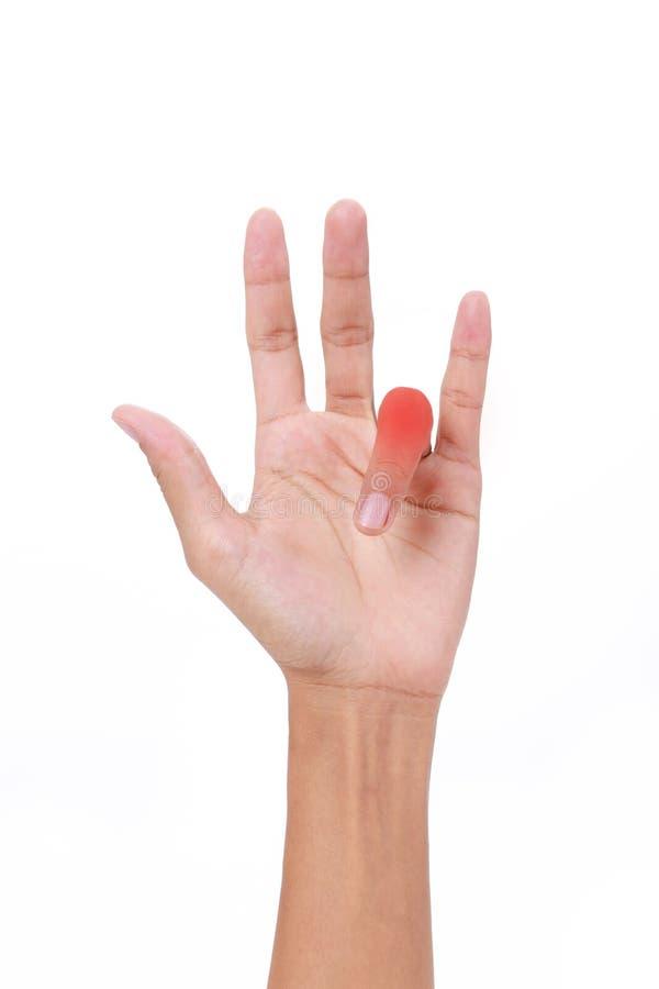 Lesione del dito Mano del dito femminile di innesco immagine stock libera da diritti