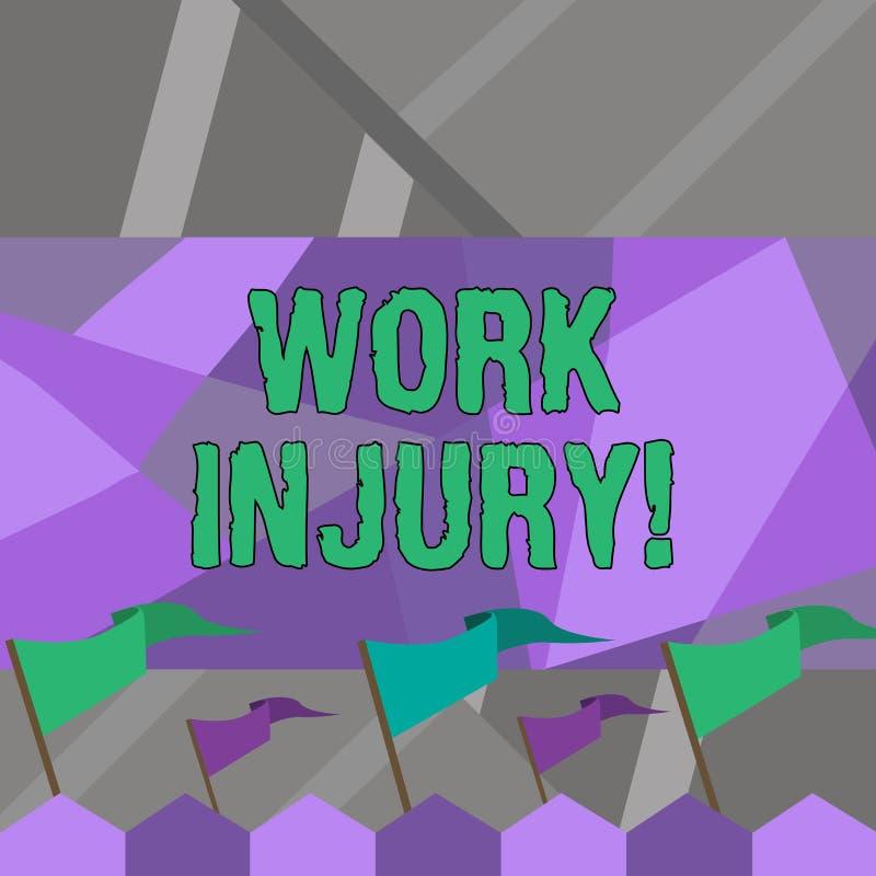 Lesione di lavoro del testo di scrittura di parola Concetto di affari per l'incidente cui si è presentato durante e come risultat illustrazione di stock