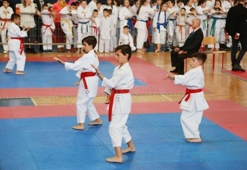 Leskovac Serbien Srbija November 25 INTERNATIONELL KARATEIPPON ÖPPNAR 2018: Konkurrenser för karateungesportar i sportkorridor, i fotografering för bildbyråer